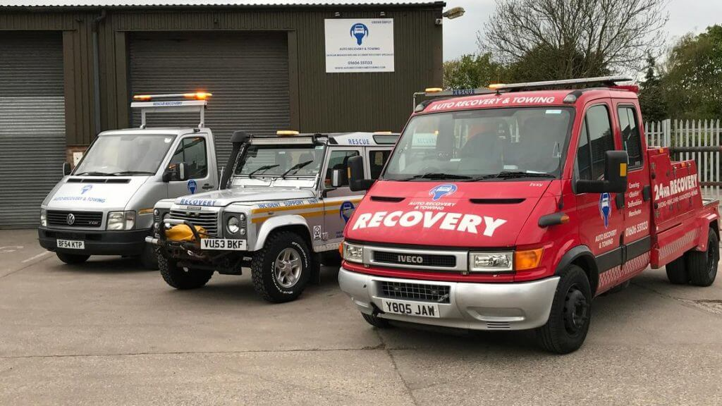 Row of specialsed recovery vehicles