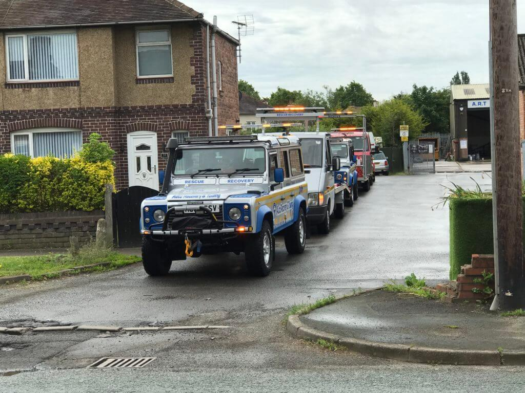 Queue of ART recovery vehicles